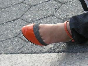 Mystery orange shoe