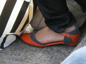 Mystery orange shoe - side view