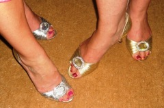 Queen Bee Designs' Allison Priebe Brooks and I in matching Manolos!